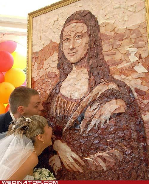 bride,food,funny wedding photos,groom,mona lisa