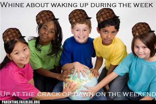 cartoons meme morning Parenting Fail school scumbag waking up weekend whine whining - 5300644864