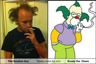 cartoon character,cigarette,crazy hair,fictional characters,guy,krusty the clown,random guy,smoking,the simpsons