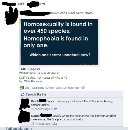 homosexuality,obvious,science,witty reply