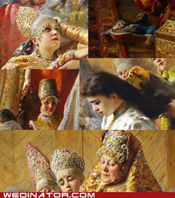 art,bride,funny wedding photos,konstantine makovsky,russia