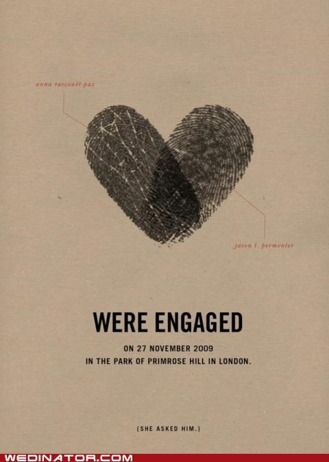 engaged,fingerprint,funny wedding photos,invitation