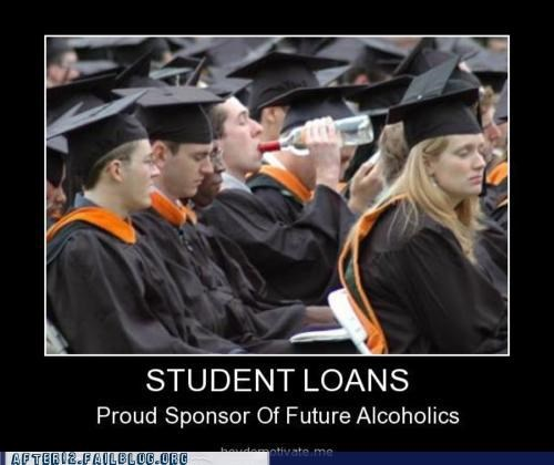 broke college debt drinking drown your sorrow graduate graduation student loans students - 5301017600
