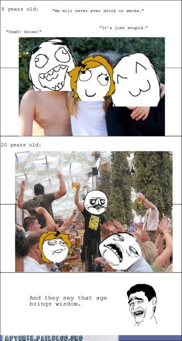 booze,drinking,drugs,growing up,lied,old,Party,Rage Comics,smoking,young