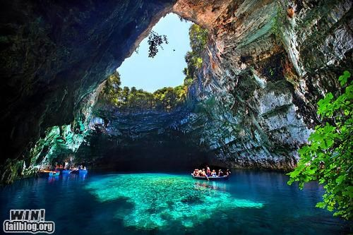 boat canoe cave lagoon mother nature ftw pretty colors - 5301360128