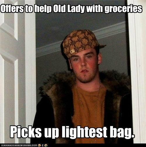 bad,groceries,heavy,old lady,Scumbag Steve,strain