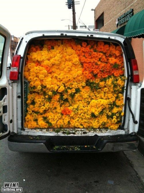 delivery Flower packed pretty colors truck van - 5301922816