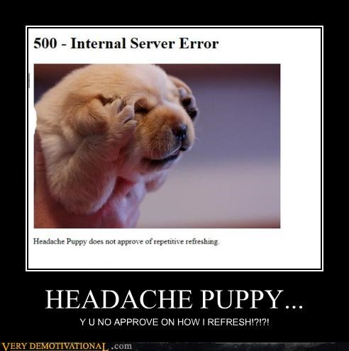 headache hilarious puppy refresh Y U NO