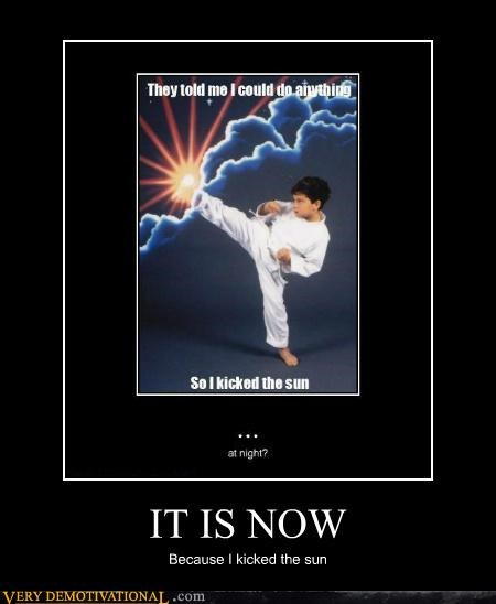 hilarious,karate,kicked the sun,kid,night