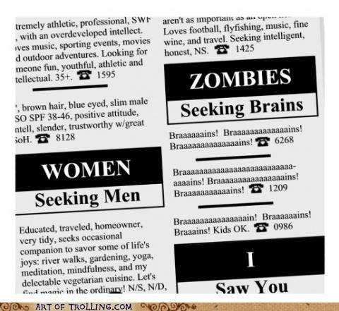 brains personal ads zombie - 5303252224