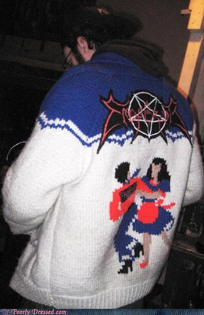 devil sweater goat sacrifice knitting needles winter weird - 5303371776