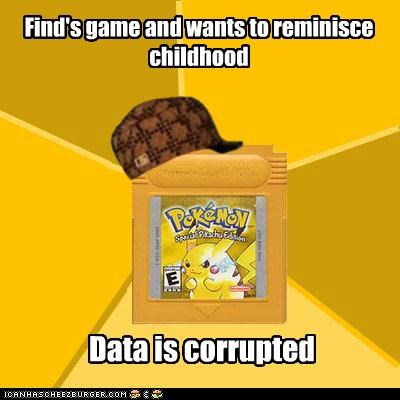 Find's game and wants to reminisce childhood Data is corrupted