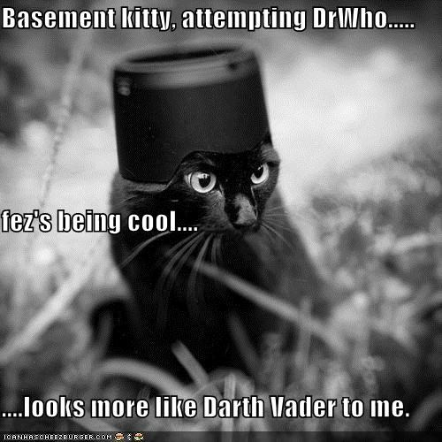 Basement kitty, attempting DrWho..... fez's being cool.... ....looks more like Darth Vader to me.