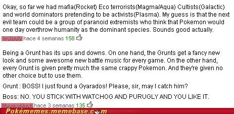 crap,crappy pokemon,grunt,Meowth,purguly,team xxxxx memeber,toys-games,watchog