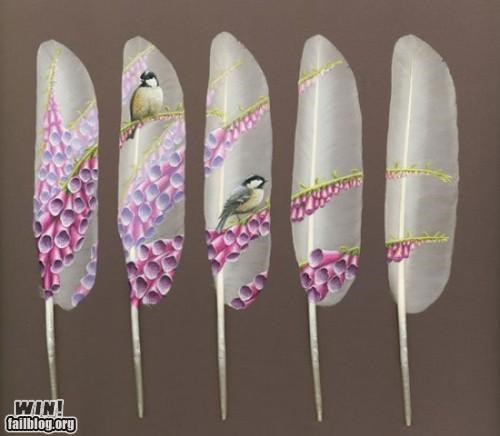 art bird feather landscape painting