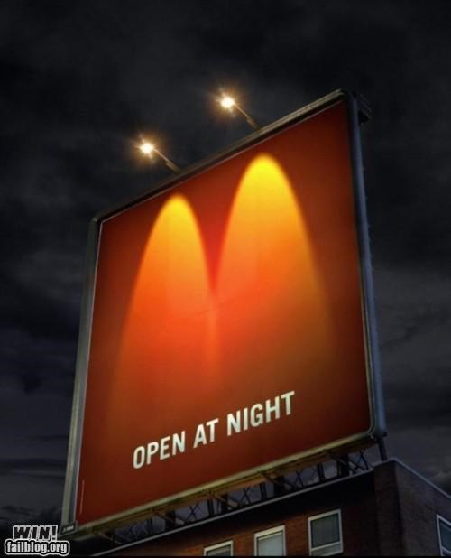 advertisement billboard clever fast food light McDonald's night - 5304644352