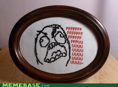 cross stitch,etsy,ffffuuu,frame,IRL,rage,Rage Comics