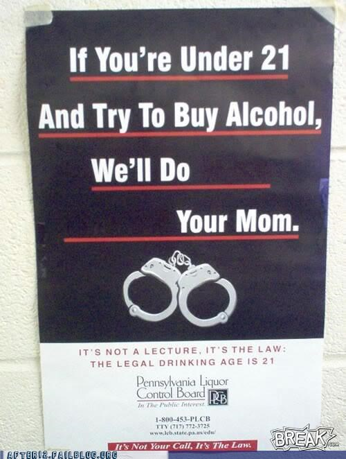 alcohol booze drinking handcuffs pennsylvania underage your mom