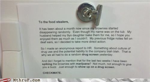 break room brownies drug test food fridge Hall of Fame note Passive-Aggressive Note prank troll - 5305000704
