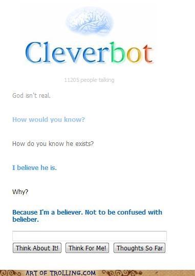 belieber,Bieber,Cleverbot,god