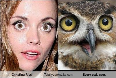actor,animal,celeb,christina ricci,funny,Owl,TLL
