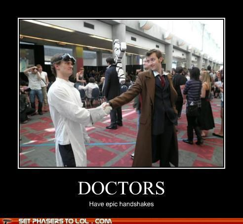 doctor who doctors dr horrible epic handshake When Worlds Collide