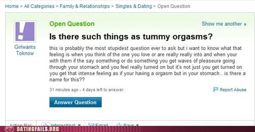 eating,orgasm,sex ed,stomach,tummy,We Are Dating,yahoo answers