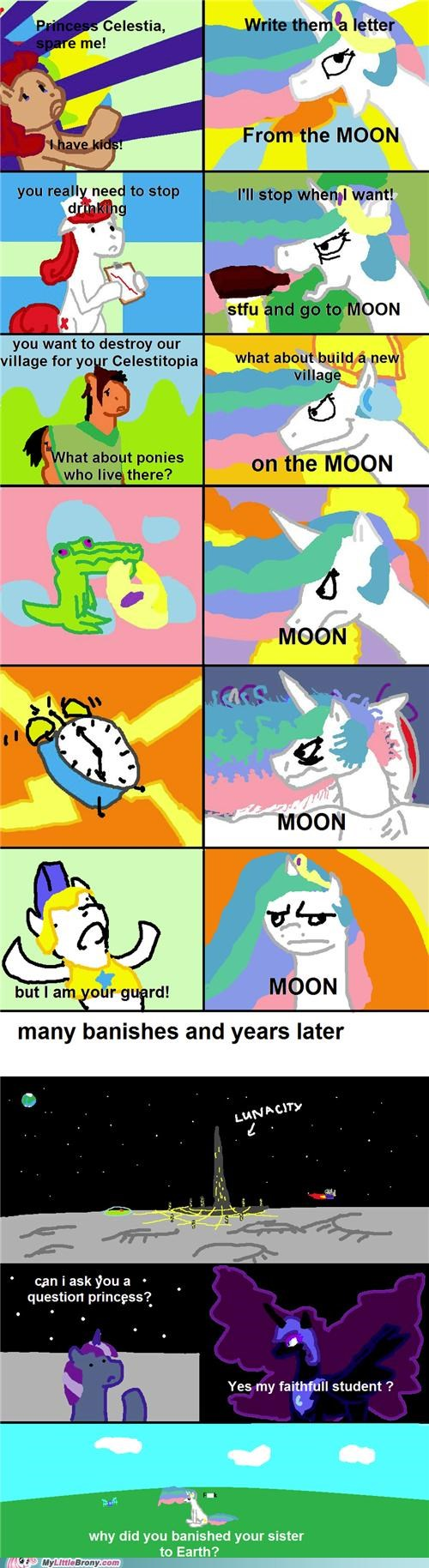 banish to the moon celestia comics earth forever alone nopony left - 5306929408