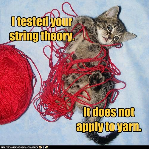I tested your string theory. It does not apply to yarn.