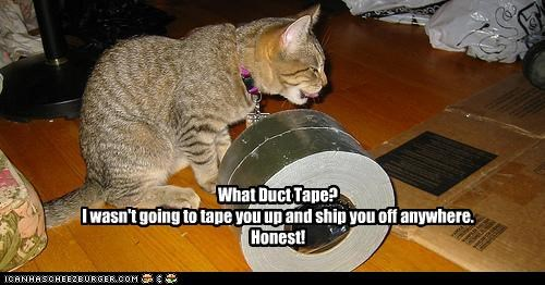What Duct Tape? I wasn't going to tape you up and ship you off anywhere. Honest!
