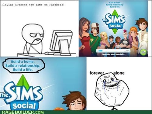 facebook,forever alone,Rage Comics,The Sims