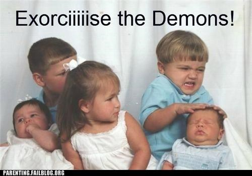 Awkward Family Photo baby demon derp exorcist Hall of Fame Parenting Fail Photo portrait
