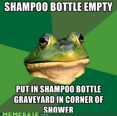 animemes,bottle,empty,foul bachelor frog,hygiene,rip,shampoo,sistah