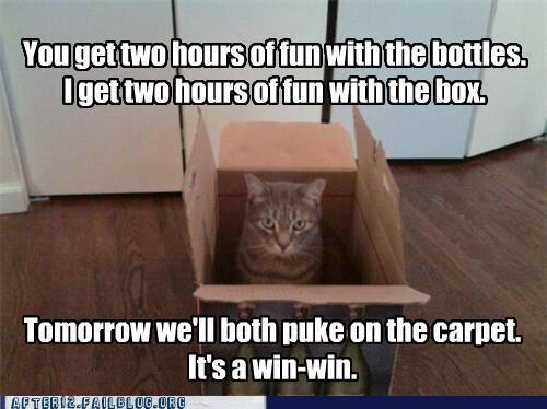 bottles cardboard box crunk critters drinking vomit win win - 5308438528