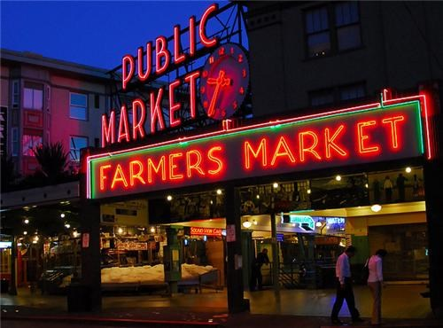awesome black farmers market getaways night night photography north america pacific northwest pike place market public market red seattle united states washington - 5308587008