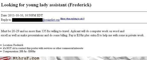 assistant,craigslist,job listing,listing,seems legit,sexy times