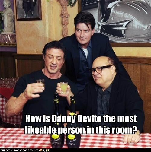 actors,Charlie Sheen,danny devito,gross,likable,Sylvester Stallone