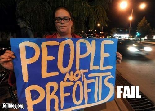 failboat g rated Occupy Wall Street Protest signs typo - 5310160128