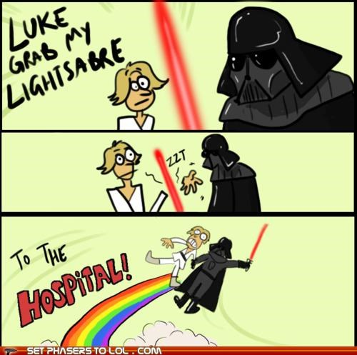 adventure,comic,darth vader,hand,hospital,lightsaber,luke skywalker,star wars,X Grab My Y