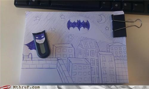 batman,comic book,hacked,nerdgasm,office supplies,security key,super hero