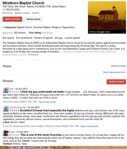 chinese food,google,review,Westboro Baptist Chruch