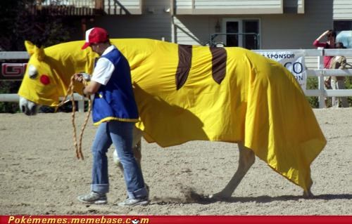 ash,costume,horse,IRL,pikachu,trainer