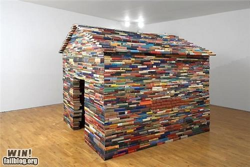 art,books,house,installation,repurposed