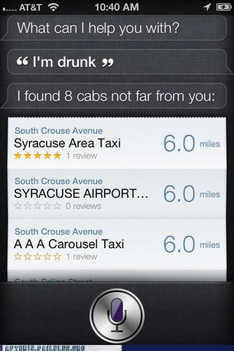 apple drunk i-for-one-etc iphone robot siri smartphone taxi