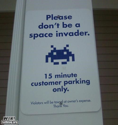 8 bit,arcade game,nerdgasm,parking,sign,space invaders,video game