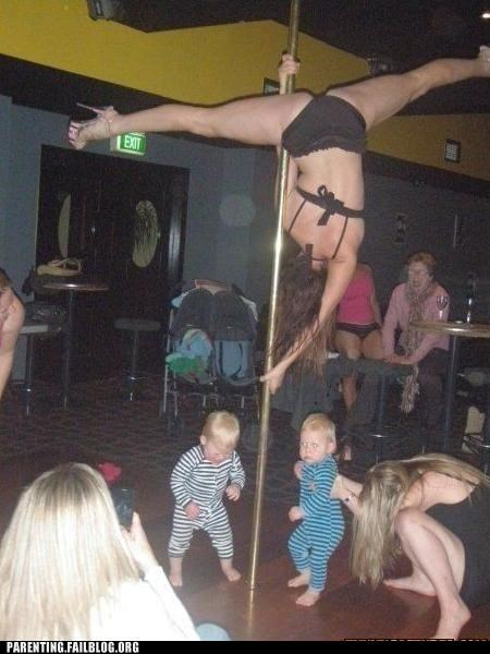 accident careful dancing Parenting Fail pole dance stripper toddlers work - 5312439296