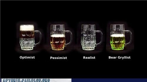 bear grylls,beer,mug,optimist,pee,pessimist,survey