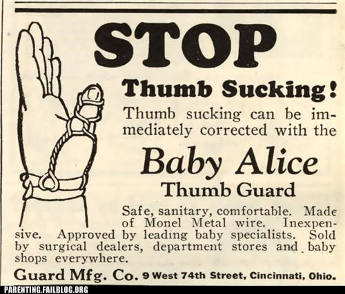 advertisement,baby,bad habits,Parenting Fail,thumb,thumb sucking,vintage