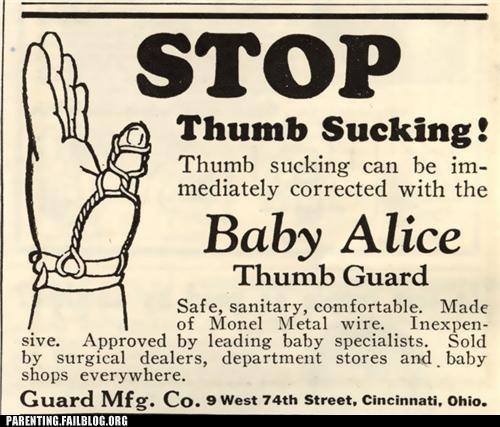 advertisement baby bad habits Parenting Fail thumb thumb sucking vintage - 5312830464