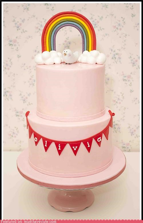 bird cake clouds epicute olivia pink rainbow - 5312878336